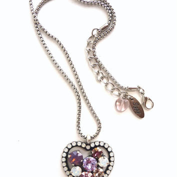 "Swarovski crystal heart pendant necklace, purples and white opals, Designer inspired, Siggy ""Amour"" collection, GREAT PRICE"