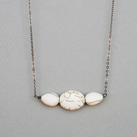 White Howlite Necklace,Natural Stone Necklace,Simple Necklace