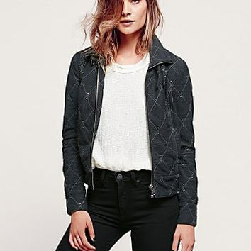 Free People Womens Studded Moto Jacket - B