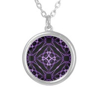 Purple Geometric Diamond Pattern Pendant