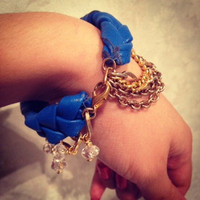 Deep Blue Leather Braided Chain Bracelet by AprilSyrup on Etsy