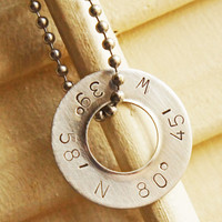 Personalized Coordinates Necklace  Silver by RiverValleyJewelry
