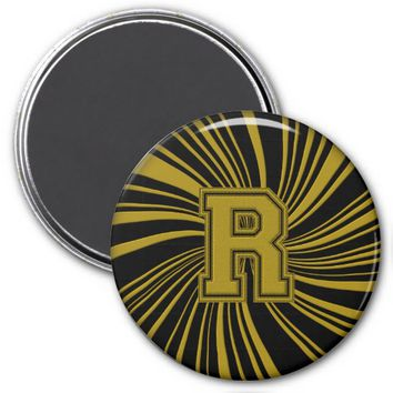 Collegiate Letter Magnet Black-Gold-R