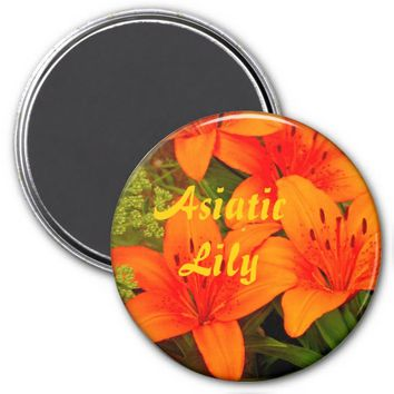 Orange Asiatic Lilies Refrigerator Magnet