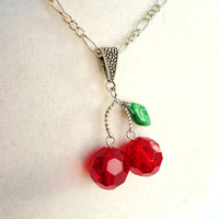 Red Glass Cherry &amp; Czech Glass Leaf Necklace by ViperCoraraDesigns
