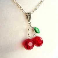 Red Glass Cherry & Czech Glass Leaf Necklace by ViperCoraraDesigns