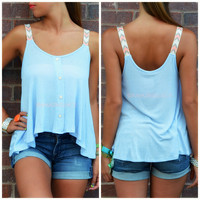 Fade Into You Sky Blue Neon Strap Crop Top
