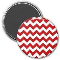 School Chevron Refrigerator Magnet, Red-White