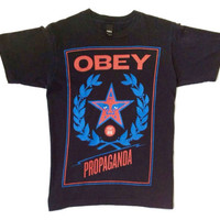 OBEY T SHIRT WHEAT & STAR ANDRE THE GIANT PROPARGANDA BLACK COLOR SIZE SMALL