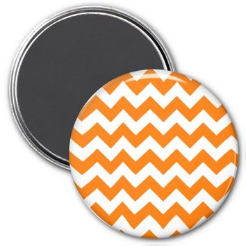 School Chevron Refrigerator Magnet, Orange-White