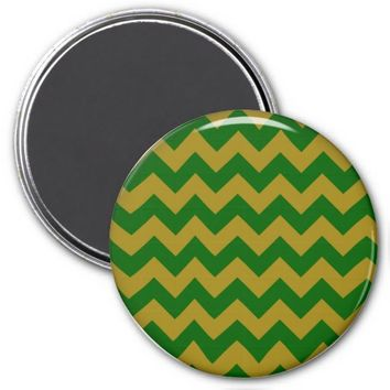 School Chevron Refrigerator Magnet, Green-Gold
