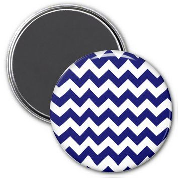 School Chevron Refrigerator Magnet, Blue-White
