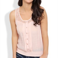 Chiffon Button Front Tank Top with Lace Shoulders