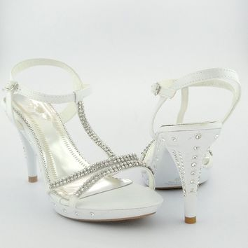 Womens' T-Strap High Heel Evening Dress Sandals w/ Rhinestones White 5.5-10
