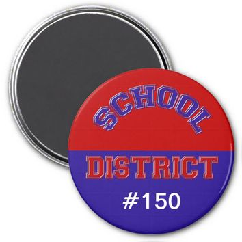 "School District 3"" Round Magnet Red & Blue"