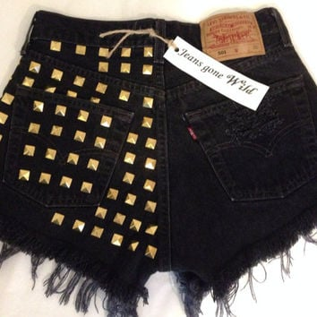 NEW High Waisted BLACK denim shorts with silver studs