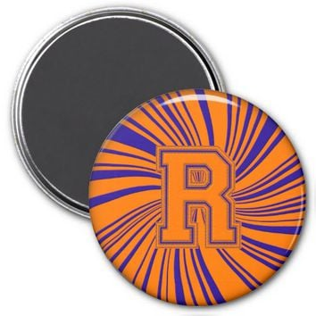 Collegiate Letter Magnet Orange-Blue-R