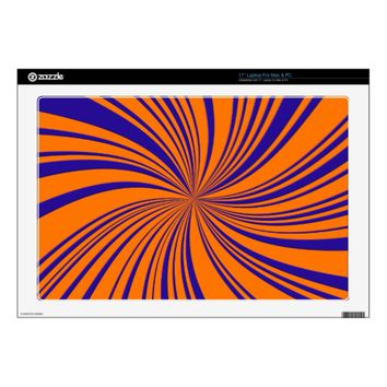 School Colors Orange-Blue Twirl Laptop Skin 17""