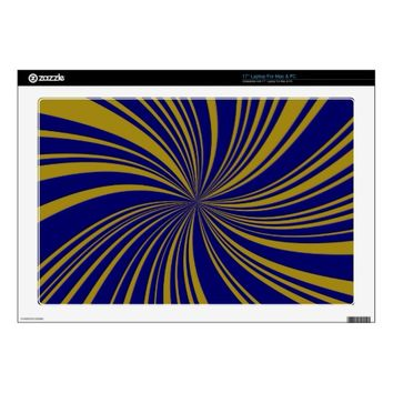 School Colors Gold-Blue Twirl Laptop Skin 17""