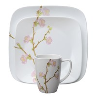 Corelle Square Cherry Blossom 16 Piece Dinnerware Set