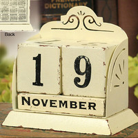 Cream Perpetual Calendar - Box of 2