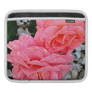 Peach Austin Roses iPad Sleeve Horizontal