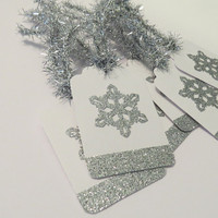 handmade Christmas gift tags - silver snowflake tags - set of 6