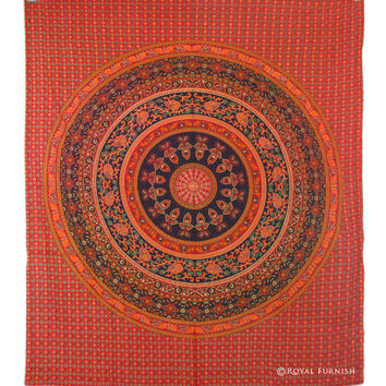 Red Indian Tapestry Wall Hanging Manala Wall Decor Bedspread Duvet Cover Art on RoyalFurnish.com