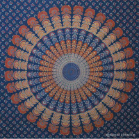 Blue Decorative Mandala Hippie Bohemian Tapestry Wall Hanging Bed Cover on RoyalFurnish.com