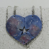 Puzzle Heart Necklaces set of 3 Galaxy Best Friend Jewelry Heart Puzzle Necklace Polymer clay