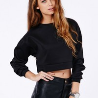 Missguided - Graca Cropped Scuba Sweatshirt In Black