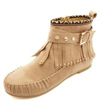 Tribal-Trimmed Studded Fringe Moccasin Booties - Taupe