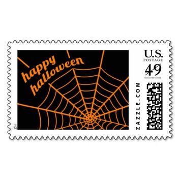 Orange Spider Web Halloween Art Postage