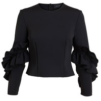 SIMONE ROCHA | Ruffle Sleeve Neoprene Top | Browns fashion & designer clothes & clothing