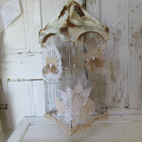 Hanging lamp bird cage shabby farmhouse vintage recycled lighting fixture birdcage cottage handmade home decor by anita spero
