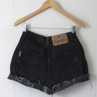 Vintage 90s Black High Waisted Cut Off Denim Shorts Jean Cuffed 25""