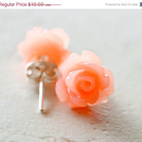 HALF OFF Peach Roses Earrings Coral Flowers Cottage by waterwaif