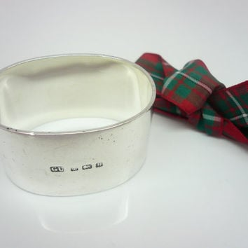 Sterling Silver Napkin Ring, George Unite, Serviette, English, England, Tableware, 925, Solid, Hallmarked 1926, 60.9 Grammes, REF:217L