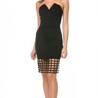 Black Strapless Caged Bodycon Dress