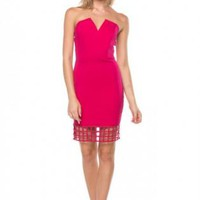 Pink Strapless Caged Bodycon Dress