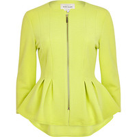 Lime textured jersey peplum jacket - jackets - coats / jackets - women