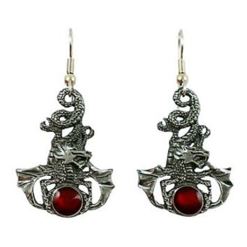 Surgical Steel Dangle Earrings Gothic Dragon Red Enamel Gem
