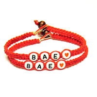 Red Hemp Bracelets, BAE, Before Anyone Else, Jewelry for Couples or Best Friends, Made to Order