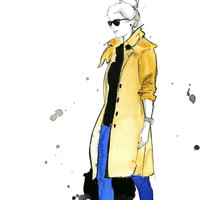 Watercolor and Pen Fashion Illustration - The Trench Coat print