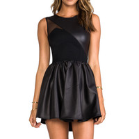 Leatherette Sweetheart Flounce Dress in Black