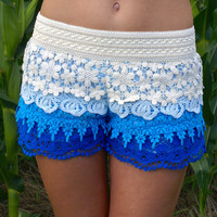 Layers of Love Shorts: Ivory/Blue