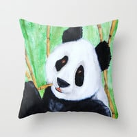 Happy Panda Indoor  Art Pillow
