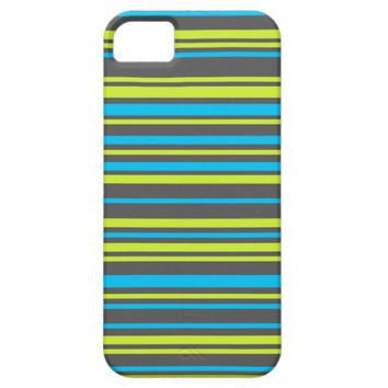 Stripes lime blue grey iPhone 5/5S case