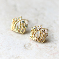 Princess Tiara Earrings in gold
