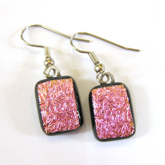 Sparkly Pink Dichroic Earrings Dangle Glass by mysassyglass